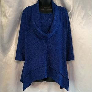 Coco Bianco Blue Sparkle 3/4 Sleeve Blouse Top